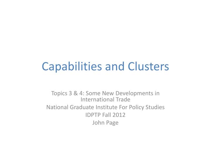 Capabilities and clusters