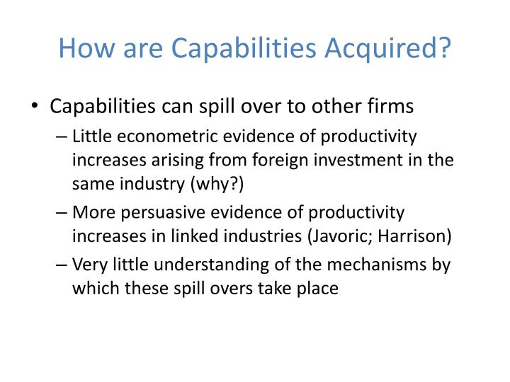 How are Capabilities Acquired?