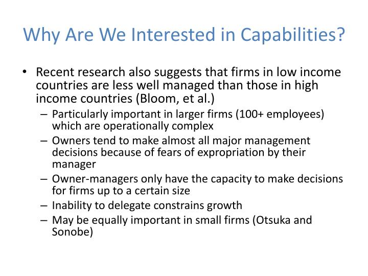 Why Are We Interested in Capabilities?