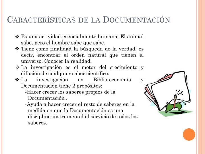 Características de la Documentación
