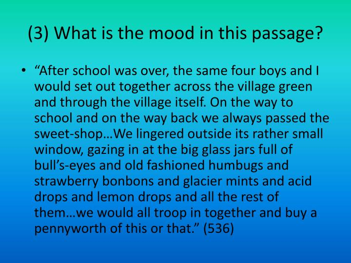 (3) What is the mood in this passage?