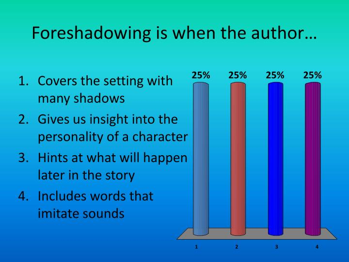 Foreshadowing is when the author…