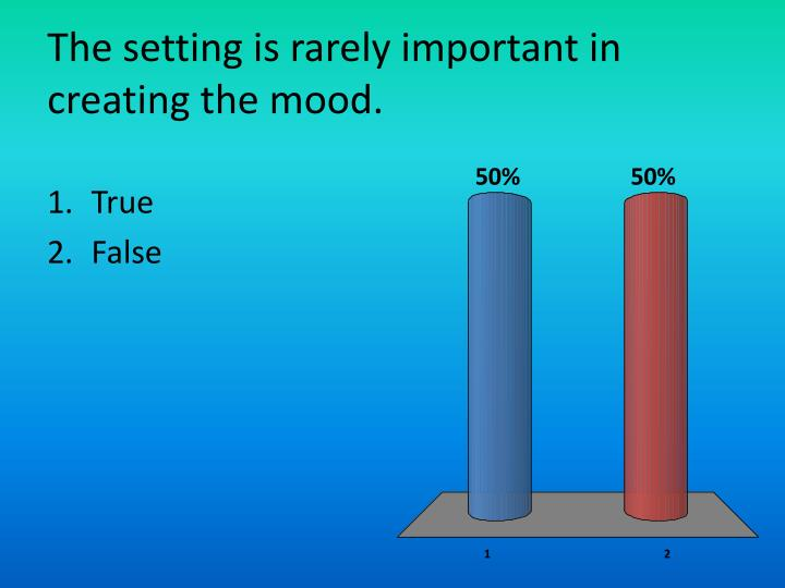 The setting is rarely important in creating the mood.