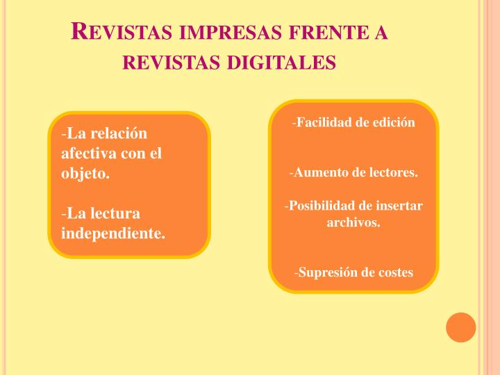 Revistas impresas frente a revistas digitales