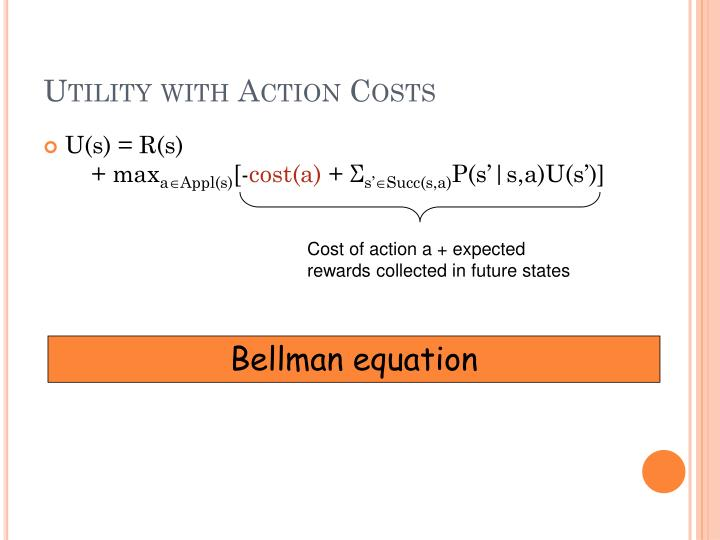 Utility with Action Costs