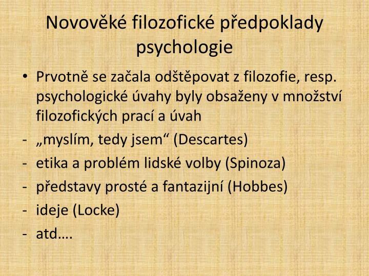 Novověké filozofické předpoklady psychologie