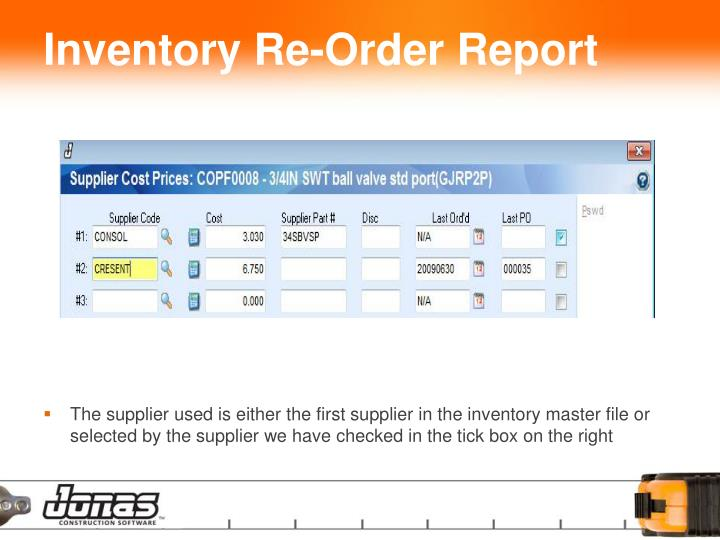 Inventory Re-Order Report
