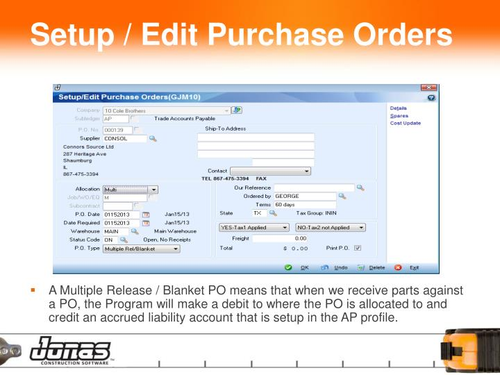 Setup / Edit Purchase Orders
