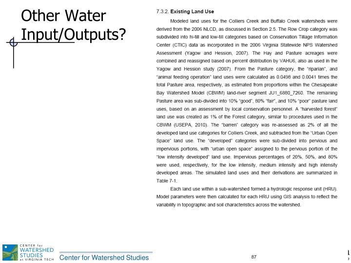 Other Water Input/Outputs?