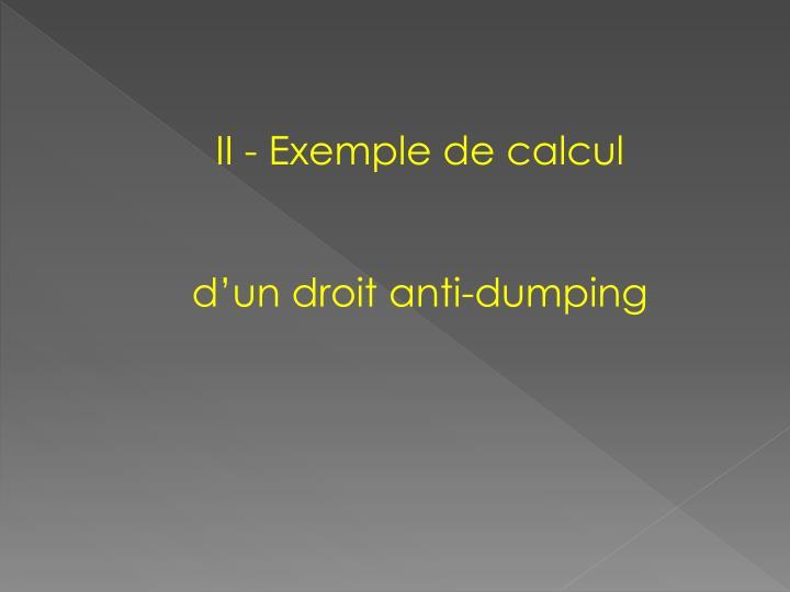 II - Exemple de calcul