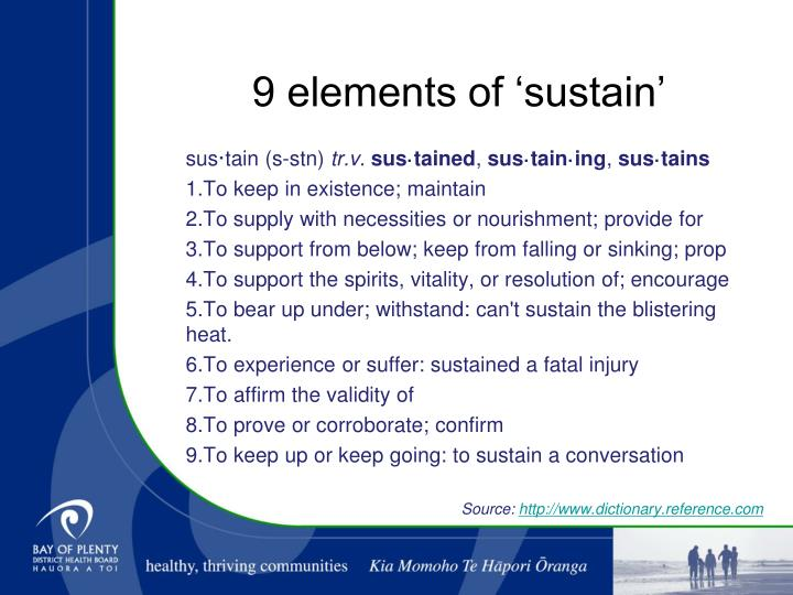 9 elements of 'sustain'
