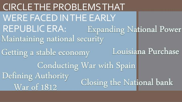 CIRCLE THE PROBLEMS THAT WERE FACED IN THE EARLY REPUBLIC ERA: