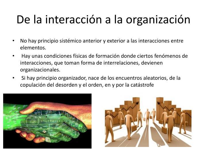 De la interacción a la organización