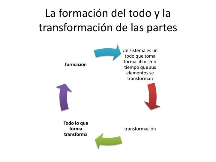 La formación del todo y la transformación de las partes