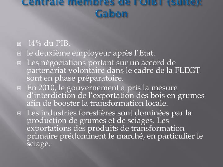 Généralités sur les pays d'Afrique Centrale membres de l'OIBT (suite): Gabon
