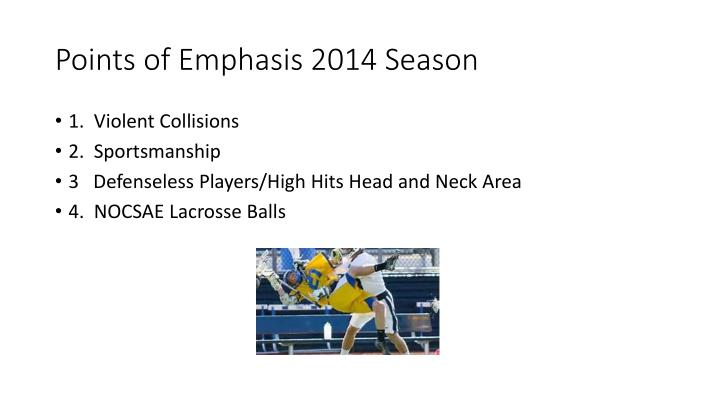 Points of Emphasis 2014 Season