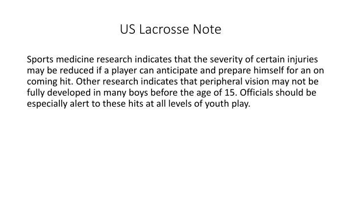 US Lacrosse Note