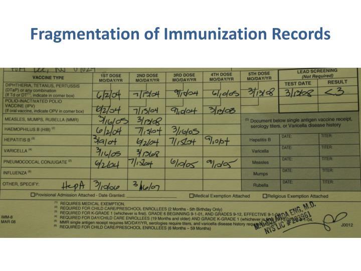 Fragmentation of Immunization Records