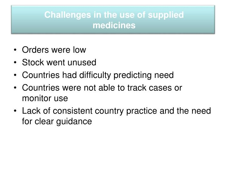 Challenges in the use of supplied medicines