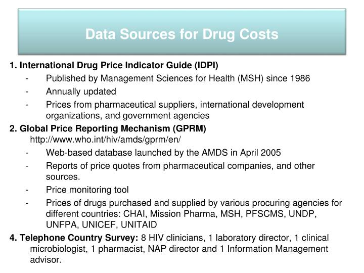 Data Sources for Drug Costs