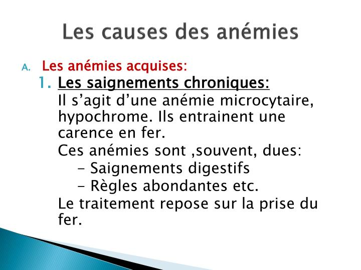 Les causes des anémies
