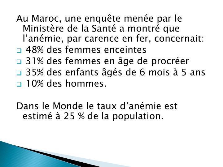 Au Maroc, une enquête menée par le Ministère de la Santé a montré que l'anémie, par carence en fer, concernait: