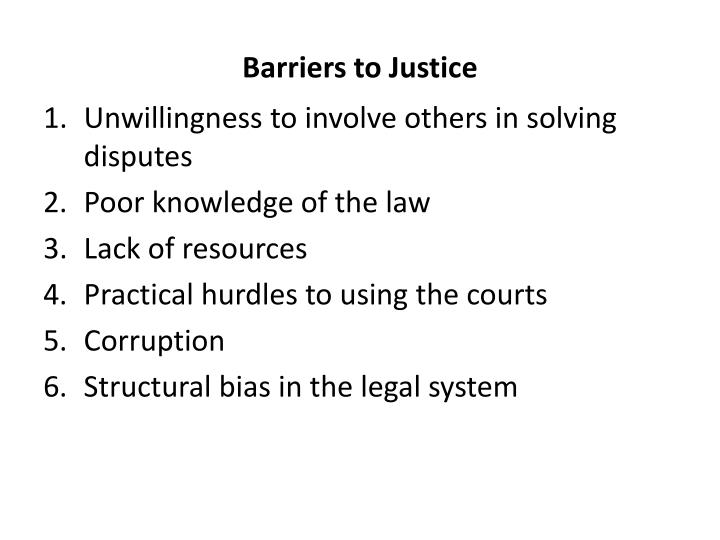 Barriers to Justice