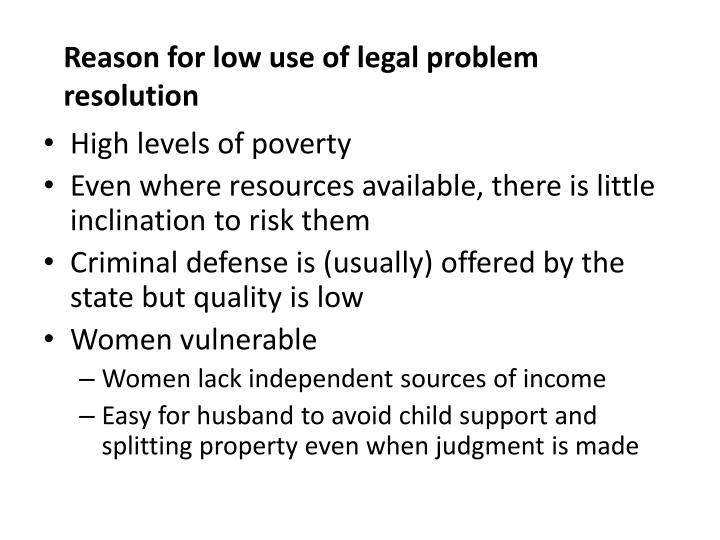 Reason for low use of legal problem resolution