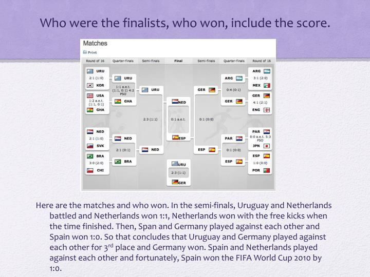Who were the finalists who won include the score