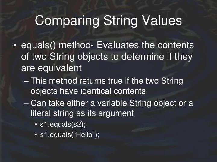 Comparing String Values