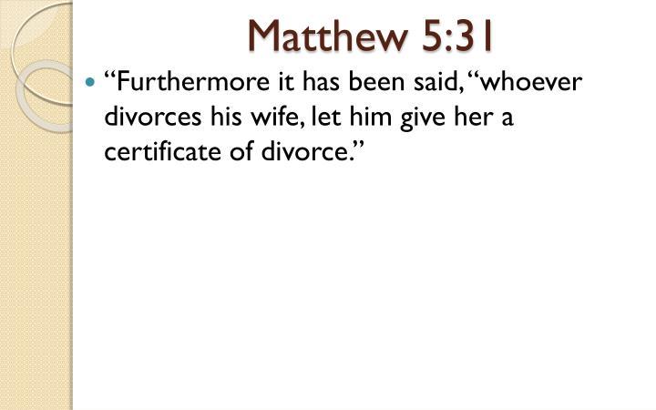 Matthew 5:31