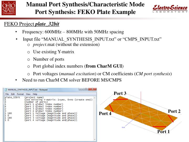 Manual Port Synthesis/Characteristic Mode Port Synthesis: FEKO Plate Example