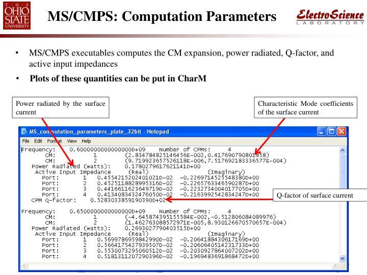 MS/CMPS: Computation Parameters