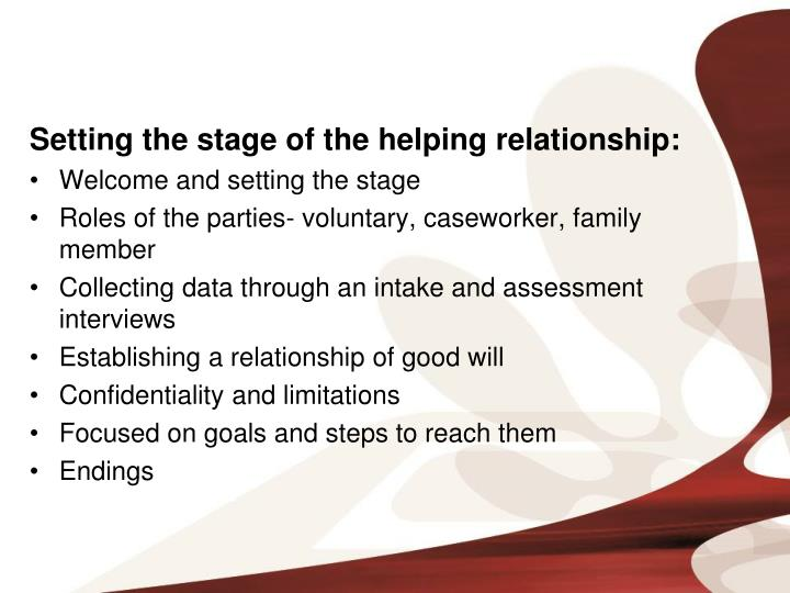Setting the stage of the helping relationship: