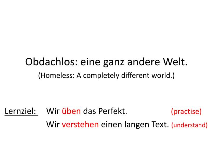 Obdachlos eine ganz andere welt homeless a completely different world