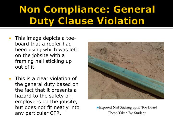 Non Compliance: General Duty Clause Violation