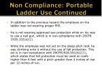 non compliance portable ladder use continued