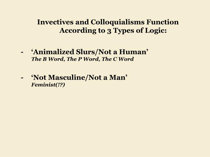 Invectives and Colloquialisms Function 	According to 3 Types of Logic: