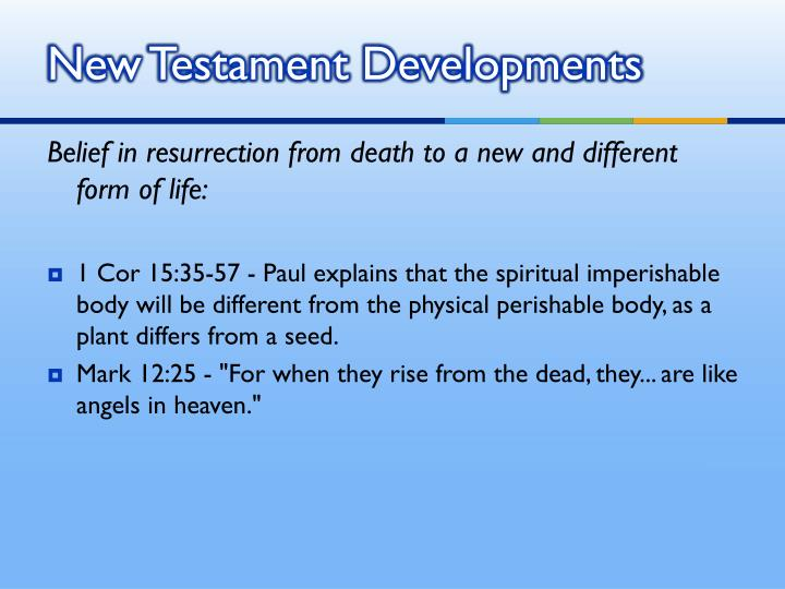 New Testament Developments