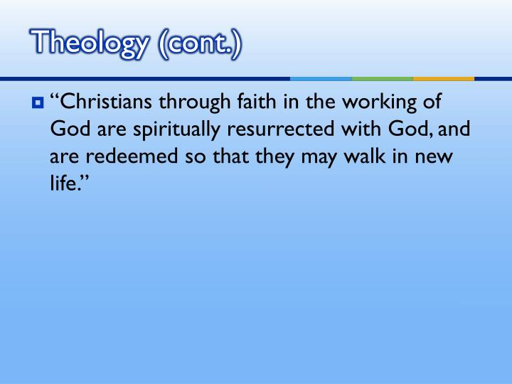 Theology (cont.)