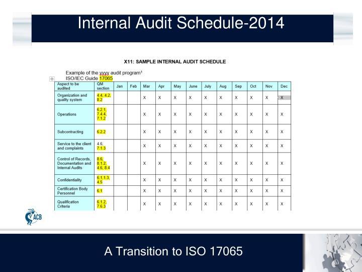 Internal Audit Schedule-2014
