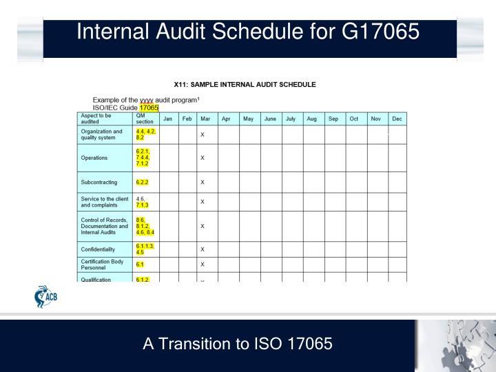 Internal Audit Schedule for G17065