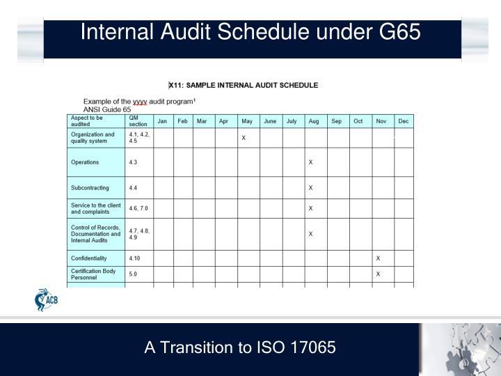Internal Audit Schedule under G65