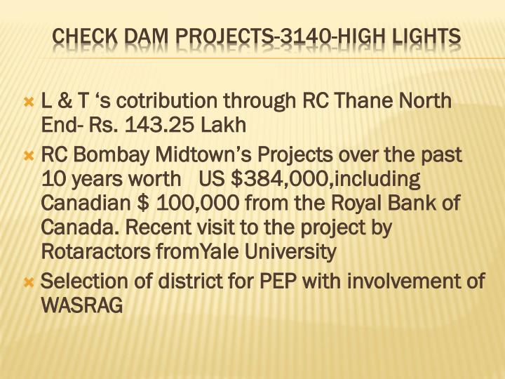 Check dam projects 3140 high lights