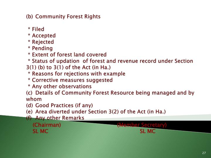(b)	Community Forest Rights