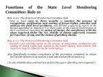 functions of the state level monitoring committee rule 10