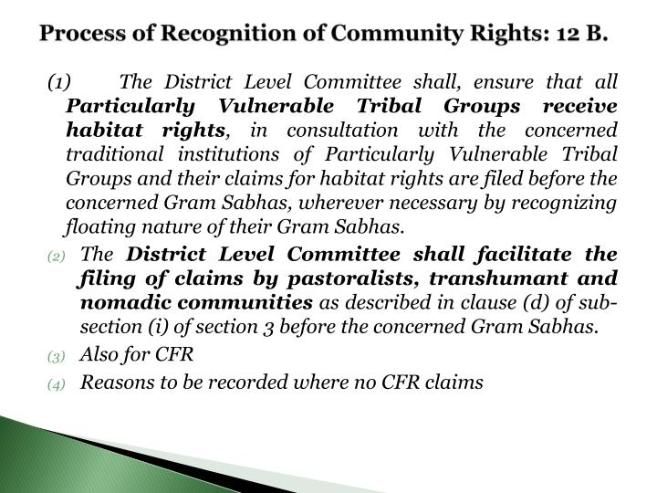 Process of Recognition of Community Rights: 12 B.