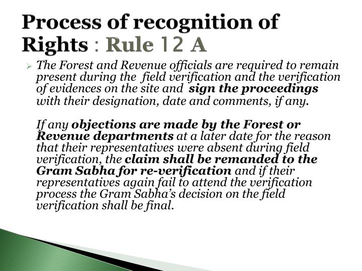 Process of recognition of