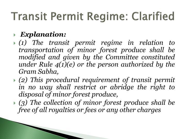 Transit Permit Regime: Clarified