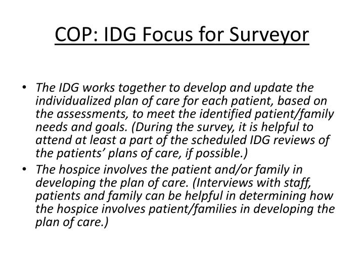 COP: IDG Focus for Surveyor